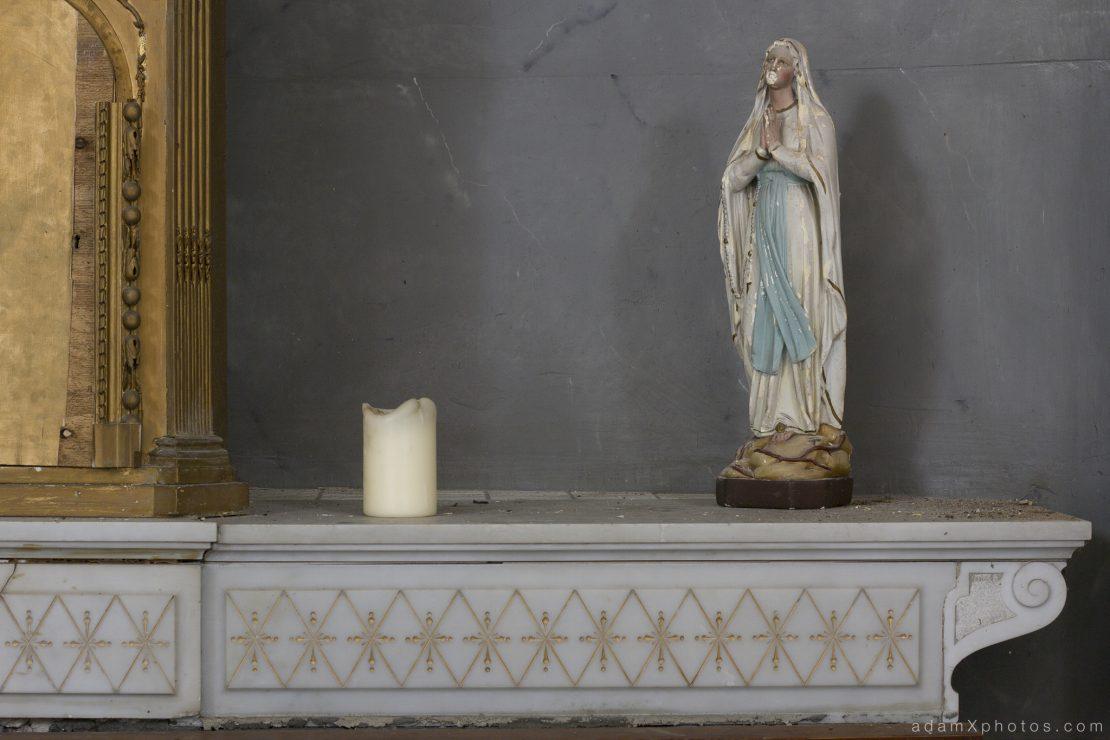 Adam X Chateau de la Chapelle urbex urban exploration belgium abandoned chapel statue statuette mary candle