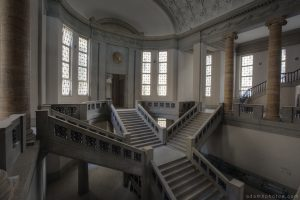 Adam X Urbex Urban Exploration Abandoned Germany Courthouse stairs staircase windows light ceiling side view