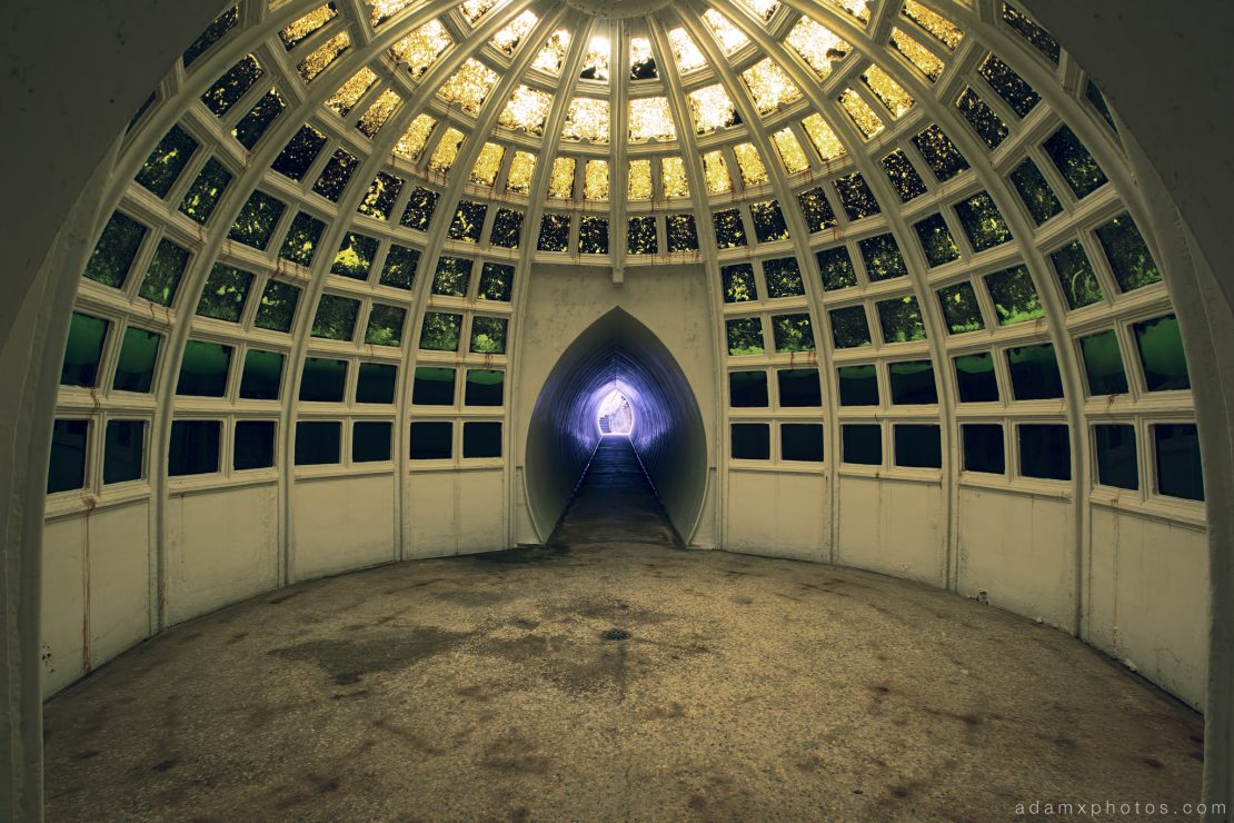 Underwater Ballroom cyanide print Witley Adam X Whitaker Wright Urbex Urban Exploration skylight light green photo photos report decay detail glass windows UE abandoned derelict unused empty disused decay decayed decaying grimy grime