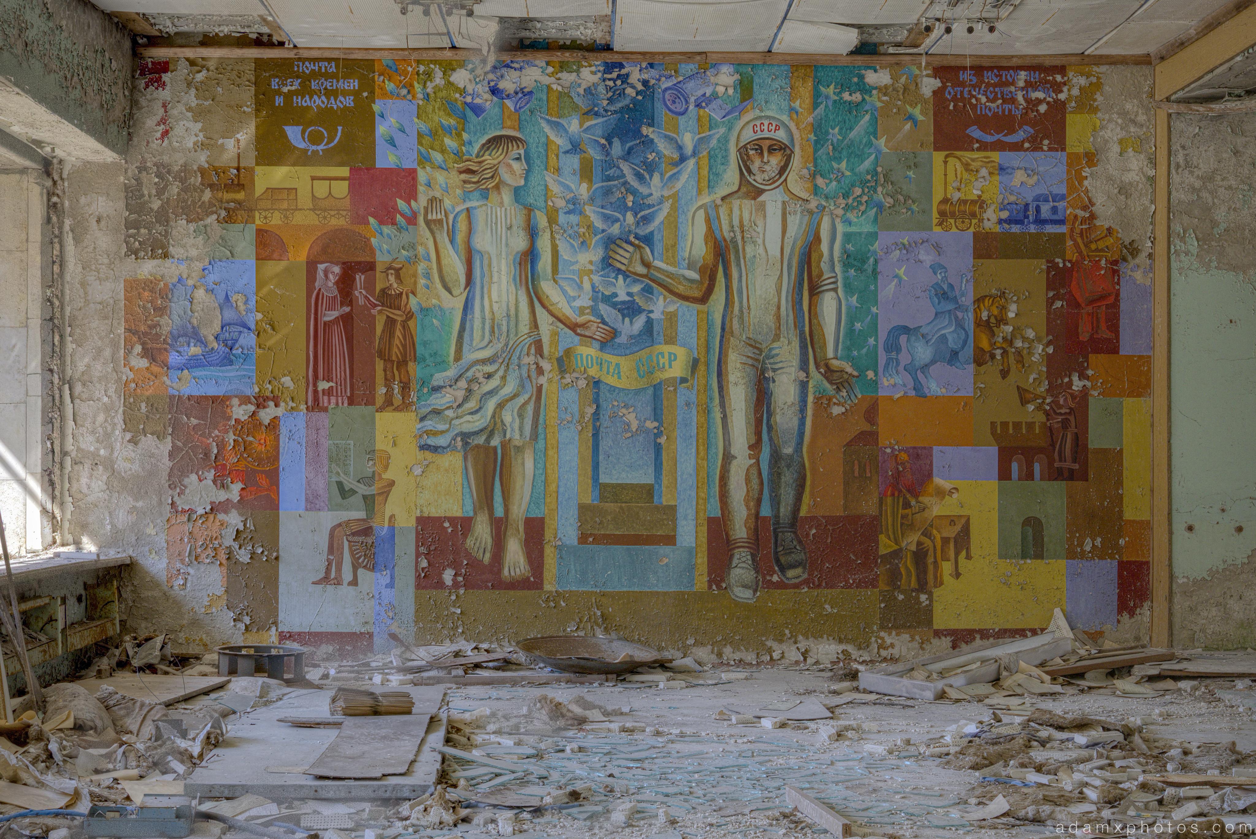 post office mural famous spaceman inside Chernobyl Pripyat Urbex Adam X Urban Exploration 2015 Abandoned decay lost forgotten derelict