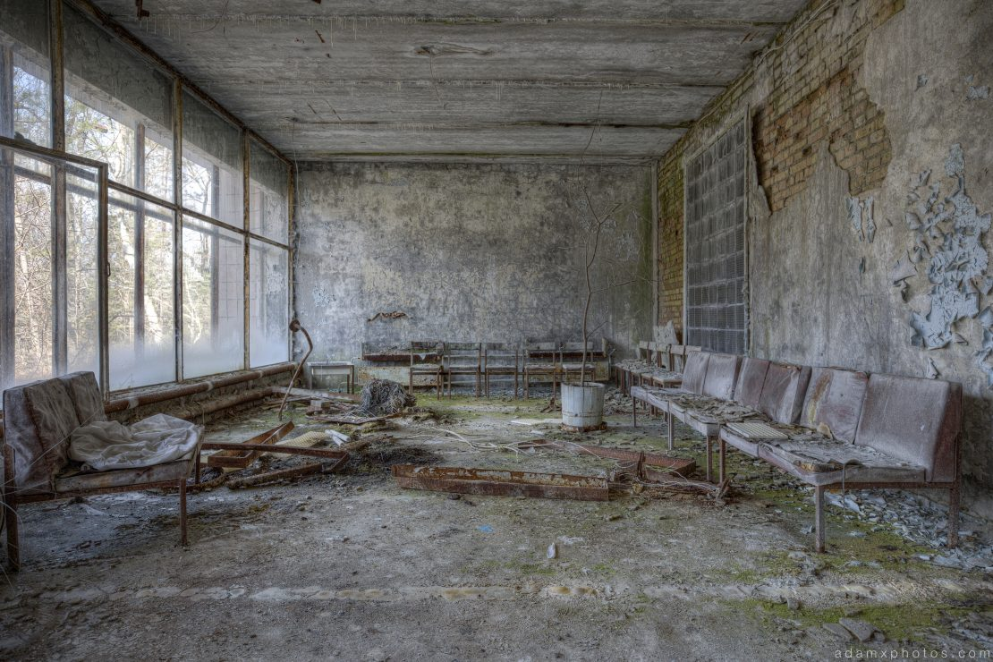 lobby reception waiting area Hospital 126 Chernobyl Pripyat Urbex Adam X Urban Exploration 2015 Abandoned decay lost forgotten derelict