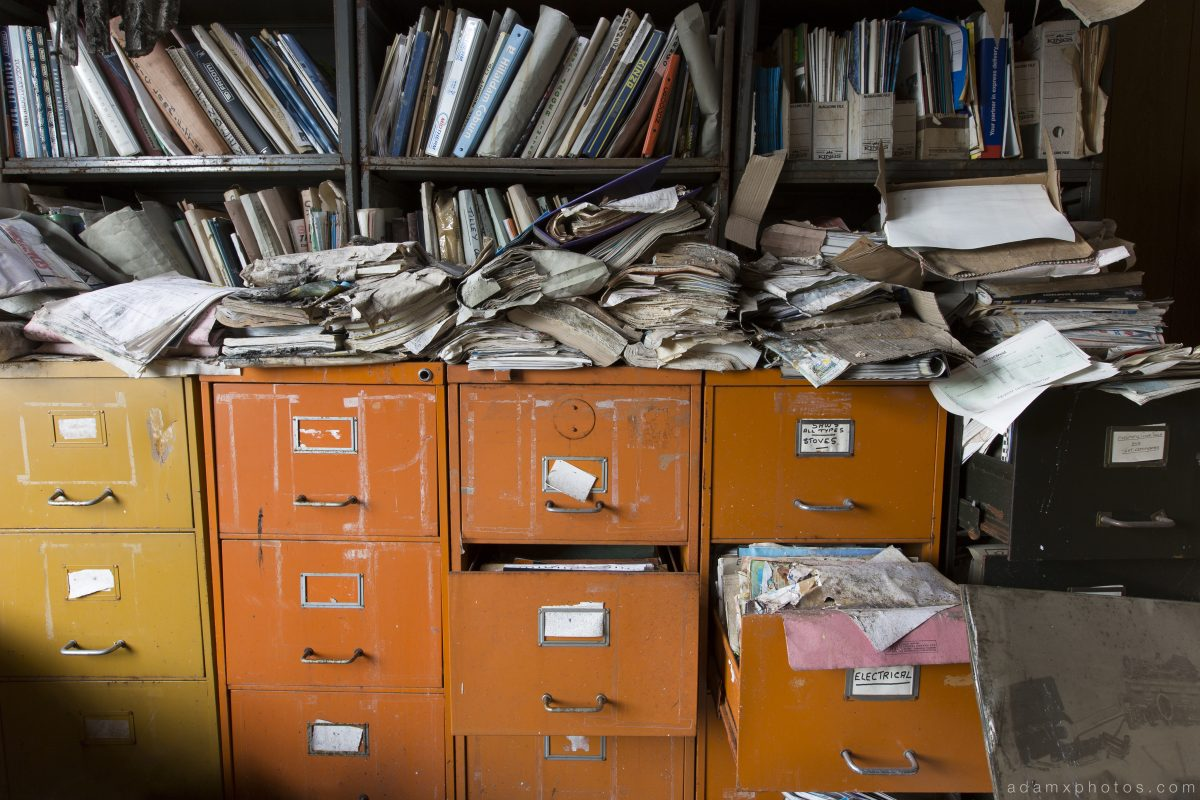 filing cabinets Williamsons Fire and Rescue equipment Oldham Urbex Adam X Urban Exploration 2015 Abandoned decay lost forgotten derelict