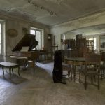 Baby Grand Piano chairs retro antique grandfather clock living room dining room Chateau Cacophonie Manoir Musique Music was my first love France Urbex Adam X Urban Exploration 2015 Abandoned decay lost forgotten derelict