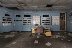 Control room blue Lostock Power Station Plant Northwich Industrial Industry infiltration Urbex Adam X Urban Exploration 2015 Abandoned decay lost forgotten derelict