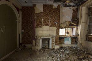 Fireplace wallpaper Leybourne Grange Manor House Medway Manor Kent Urbex Adam X Urban Exploration 2015 Abandoned decay lost forgotten derelict