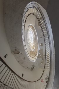 Spiral staircase stairs looking up Royal Hospital Haslar Gosport History Naval Navy Military Hospital Urbex Adam X Urban Exploration Infiltration Access 2015 Abandoned decay lost forgotten derelict