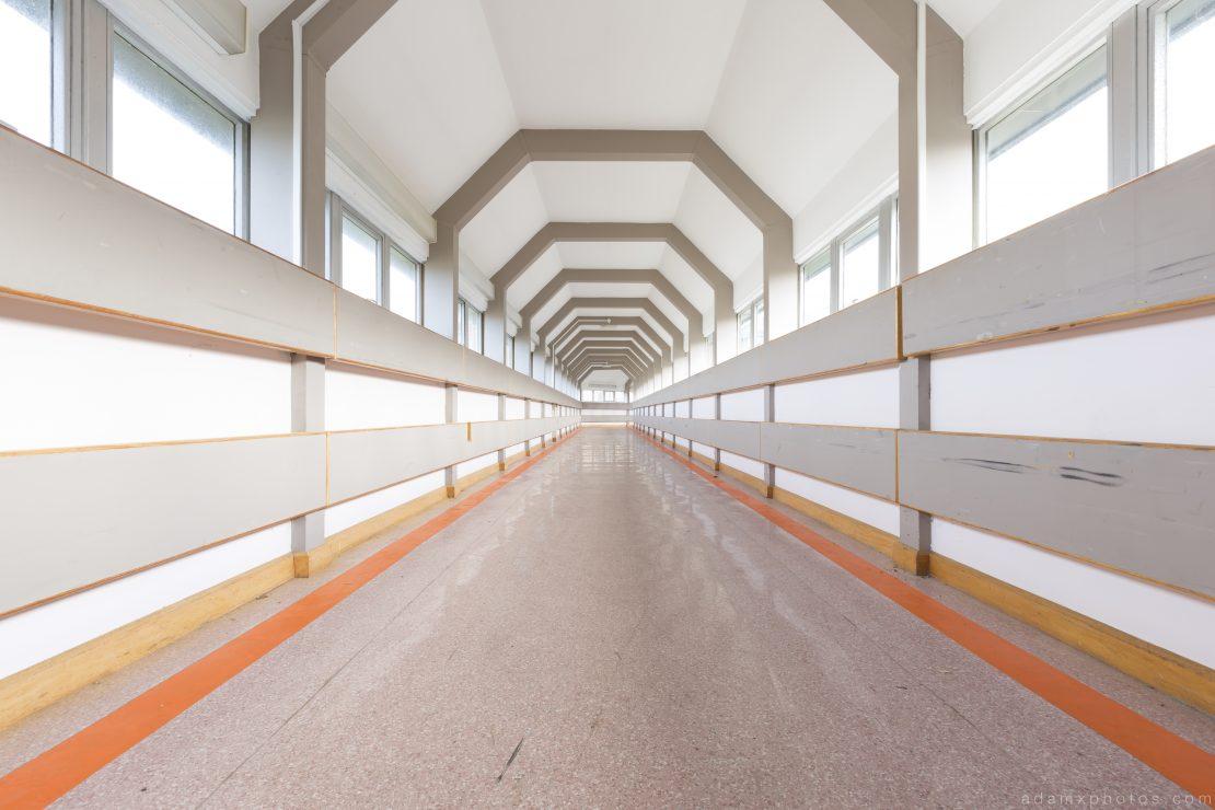 Long Corridor futuristic abstract space Royal Hospital Haslar Gosport History Naval Navy Military Hospital Urbex Adam X Urban Exploration Infiltration Access 2015 Abandoned decay lost forgotten derelict