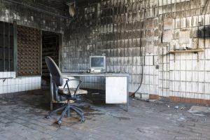 Old computer desk fire damage Zeche P Mine Germany Deutschland Urbex Adam X Urban Exploration Access 2016 Abandoned decay lost forgotten derelict