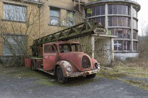 Fire Truck Preventorium Dolhain TB Hospital Belgium Belgie Belgique Urbex Adam X Urban Exploration Access 2016 Abandoned decay lost forgotten derelict