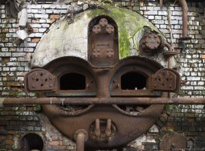 Urbex Faces Face metal oven furnace overgrown Usine S Belgium Textile Wool Factory Urbex Adam X Urban Exploration Access 2016 Abandoned decay lost forgotten derelict