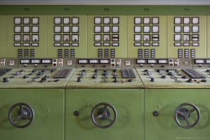 Control panels green control room Kraftwerk V Urbex Powerplant Germany Adam X Urban Exploration Access 2016 Abandoned decay lost forgotten derelict location Deutschland