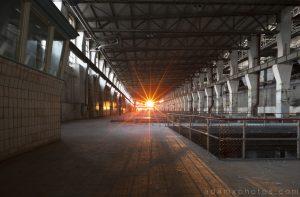 Turbine Hall sunset sunsburst Kraftwerk V Urbex Powerplant Germany Adam X Urban Exploration Access 2016 Abandoned decay lost forgotten derelict location Deutschland
