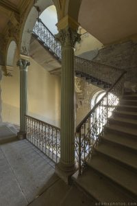Stairs Staircase Wrought iron bannisters ornate grand Villa Guano Villa Miley Urbex Germany Adam X Urban Exploration Access 2016 Abandoned decay lost forgotten derelict location Deutschland