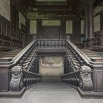Carved wooden staircase stairs twin beautiful grand Palac Bozkow Urbex Poland Adam X Urban Exploration Permission Visit Access 2016 Abandoned decay lost forgotten derelict location haunting eerie