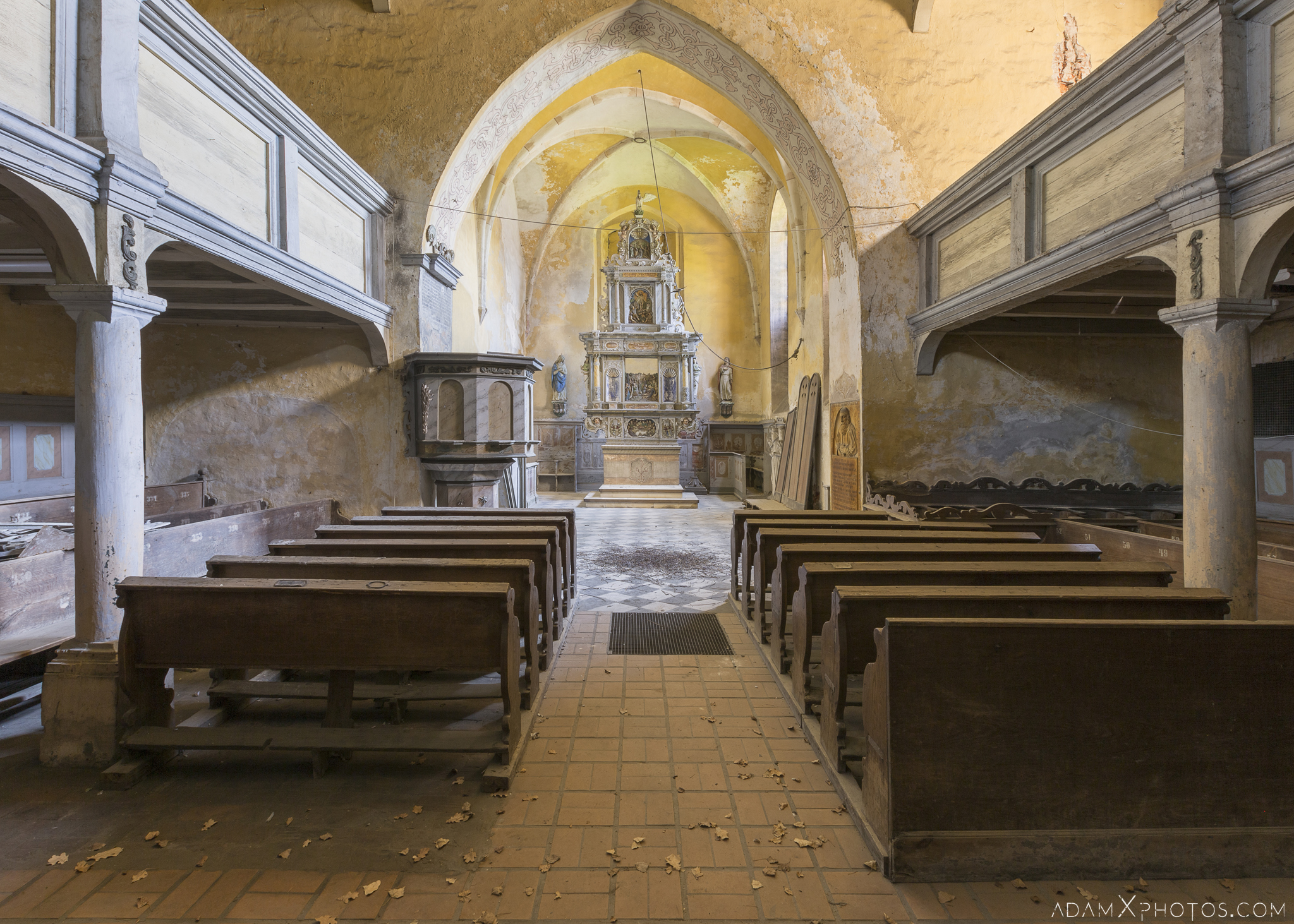 Main aisle altar pews Chapel B Church Urbex Poland Adam X Urban Exploration Permission Visit Access 2016 Abandoned decay lost forgotten derelict location haunting eerie