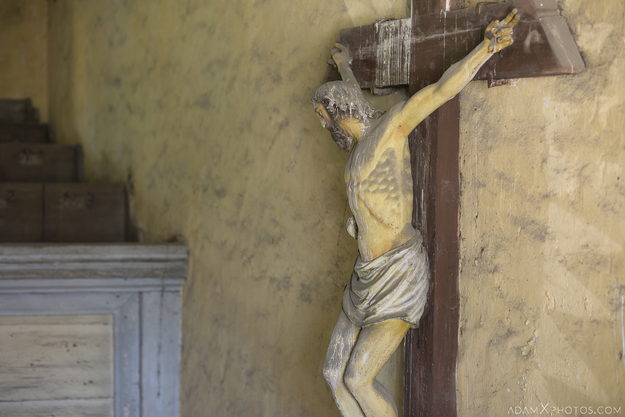 Christ Jesus crucifix detail Chapel B Church Urbex Poland Adam X Urban Exploration Permission Visit Access 2016 Abandoned decay lost forgotten derelict location haunting eerie