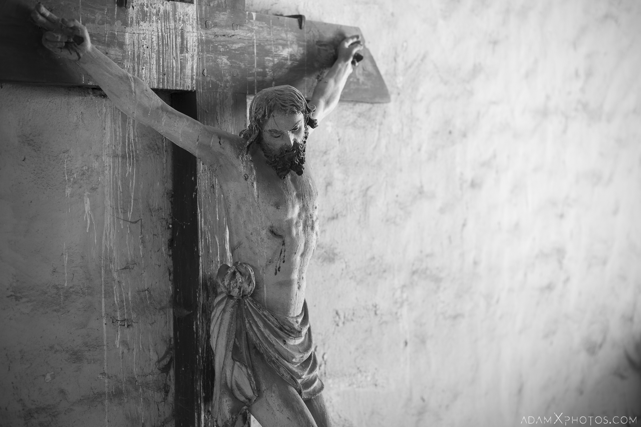 Jesus christ crucifix cross black and white b&w decay pigeon Chapel B Church Urbex Poland Adam X Urban Exploration Permission Visit Access 2016 Abandoned decay lost forgotten derelict location haunting eerie