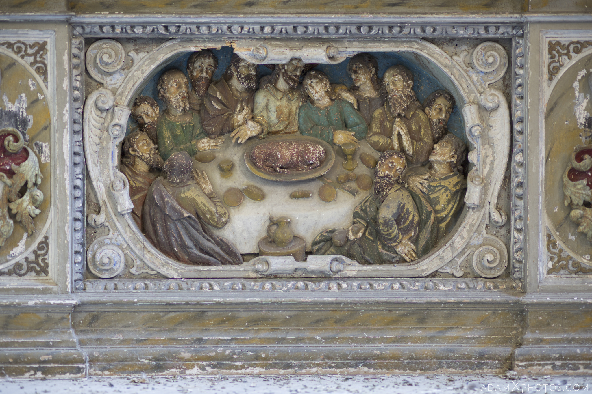 Christ Jesus disciples supper ornate fresco detail Chapel B Church Urbex Poland Adam X Urban Exploration Permission Visit Access 2016 Abandoned decay lost forgotten derelict location haunting eerie
