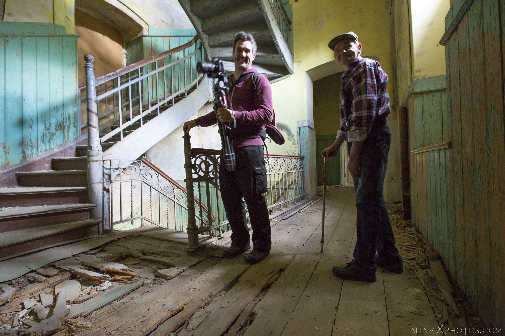 James Kerwin and his Dad Hunter's castle Moja Wola Pałac Myśliwski w Mojej Woli Urbex Poland Adam X Urban Exploration Access 2016 Abandoned decay lost forgotten derelict location haunting eerie