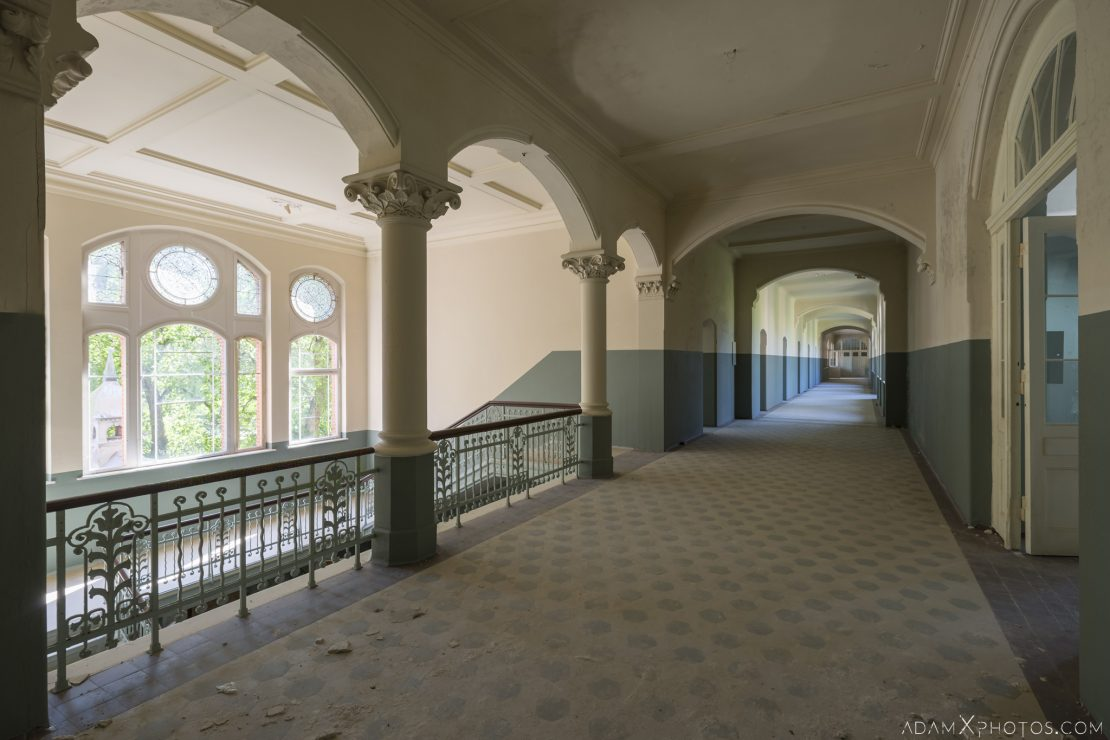 Landing and corridor Redeveloped painted A cure for wellness film set Mens Sanatorium ward wing Beeltiz Heilstatten Germany Deutschland Urbex Adam X Urban Exploration Access 2016 Abandoned decay lost forgotten derelict location haunting eerie