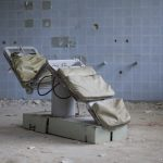 Ward Chair operating theatre peeling paint The Blue Hospital Military Germany Deutschland Urbex Adam X Urban Exploration Access 2016 Abandoned decay lost forgotten derelict location haunting eerie