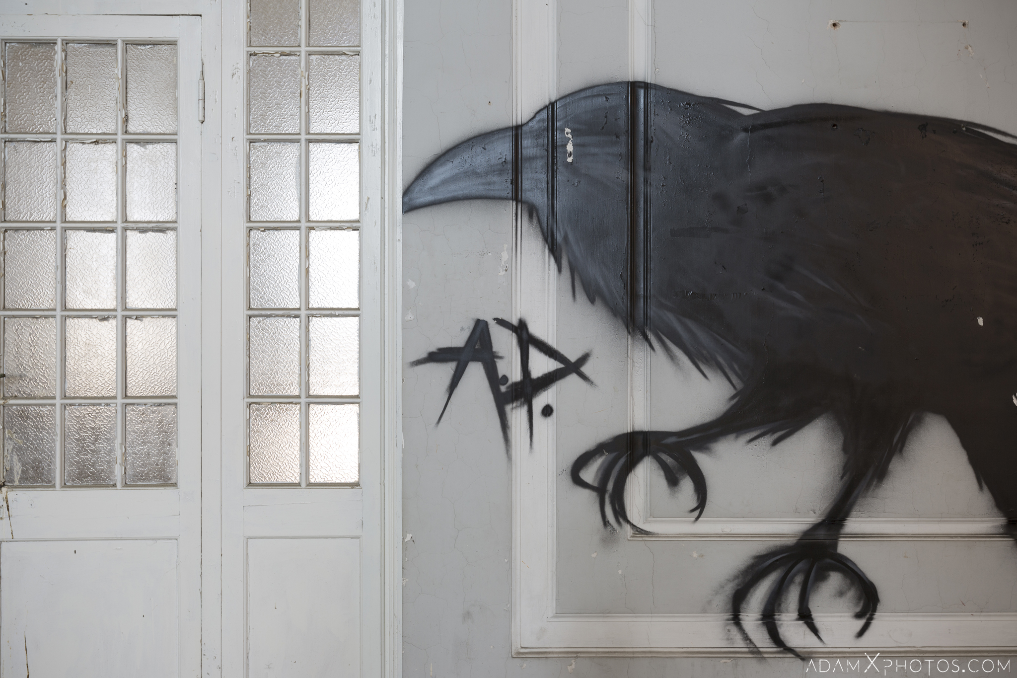 Crow graffiti art ospedale psichiatrico di q manicomio di q asylum hospital Urbex Adam X Urban Exploration Italy Italia Access 2016 Abandoned decay lost forgotten Secca Security infiltration derelict location creepy haunting eerie