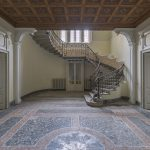 Hallway entrance grand stairs staircase ornate ceiling tiles tiled floor Villa Margherita Night Camping Urbex Adam X Urban Exploration Italy Italia Access 2016 Abandoned decay lost forgotten derelict location creepy haunting eerie