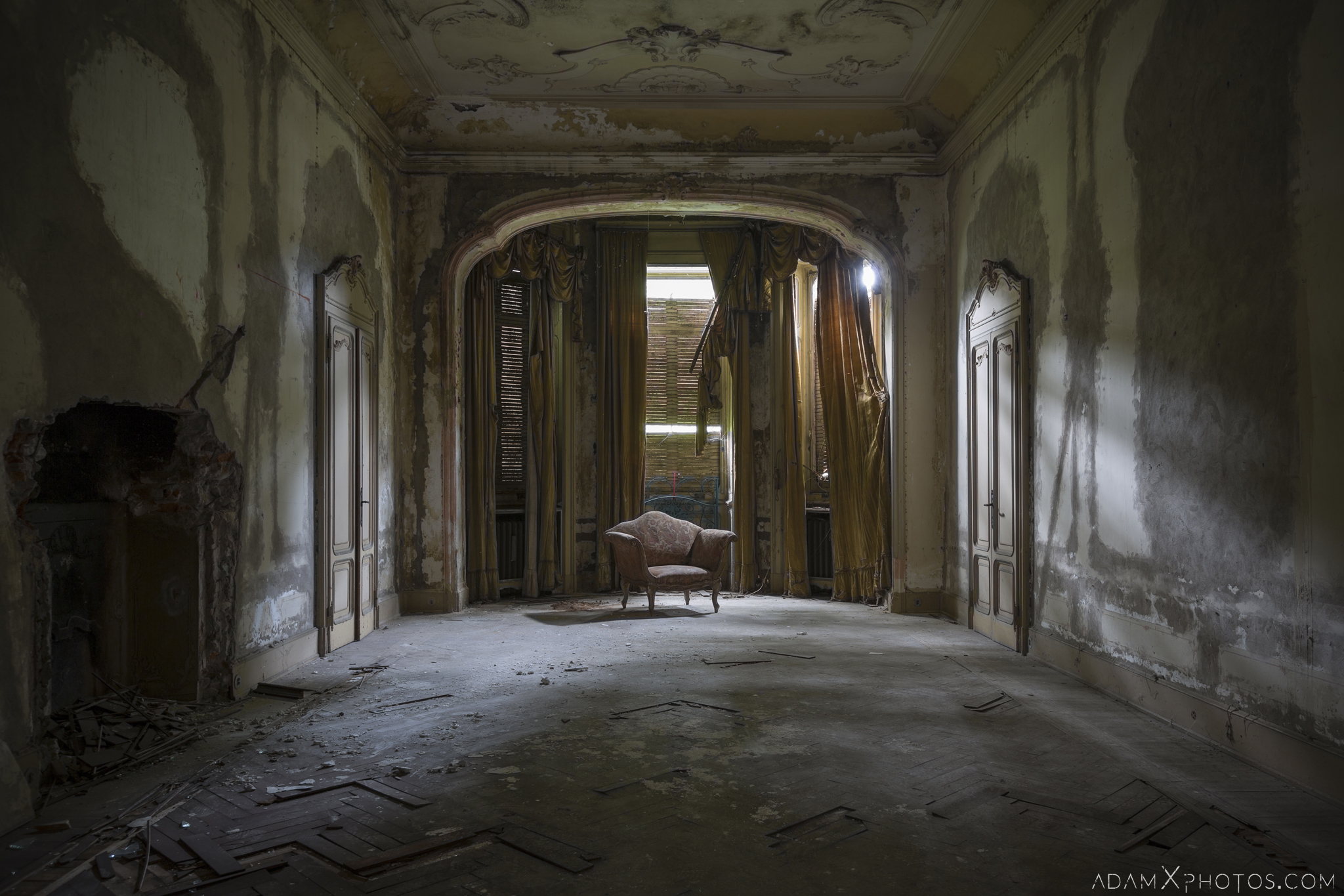 Abandoned chair drawing room parquet flooring peeling paint Villa Pesenti P Urbex Adam X Urban Exploration Italy Italia Access 2016 Abandoned decay lost forgotten derelict location creepy haunting eerie