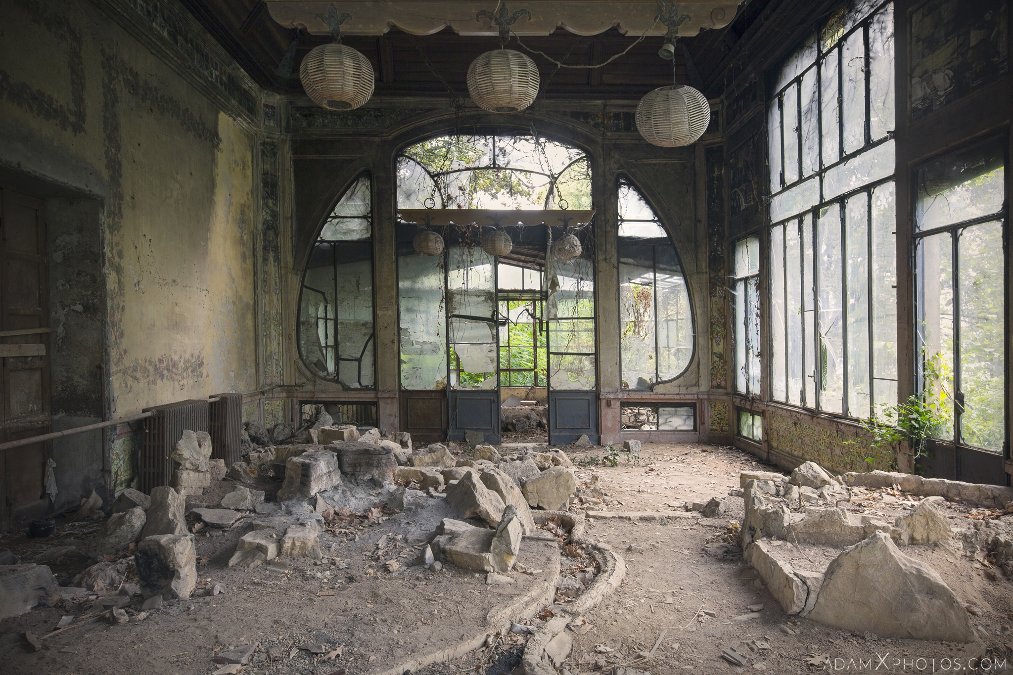 Greenhouse Orangery Garden summer House ornate windows rockery Villa Pesenti P Urbex Adam X Urban Exploration Italy Italia Access 2016 Abandoned decay lost forgotten derelict location creepy haunting eerie