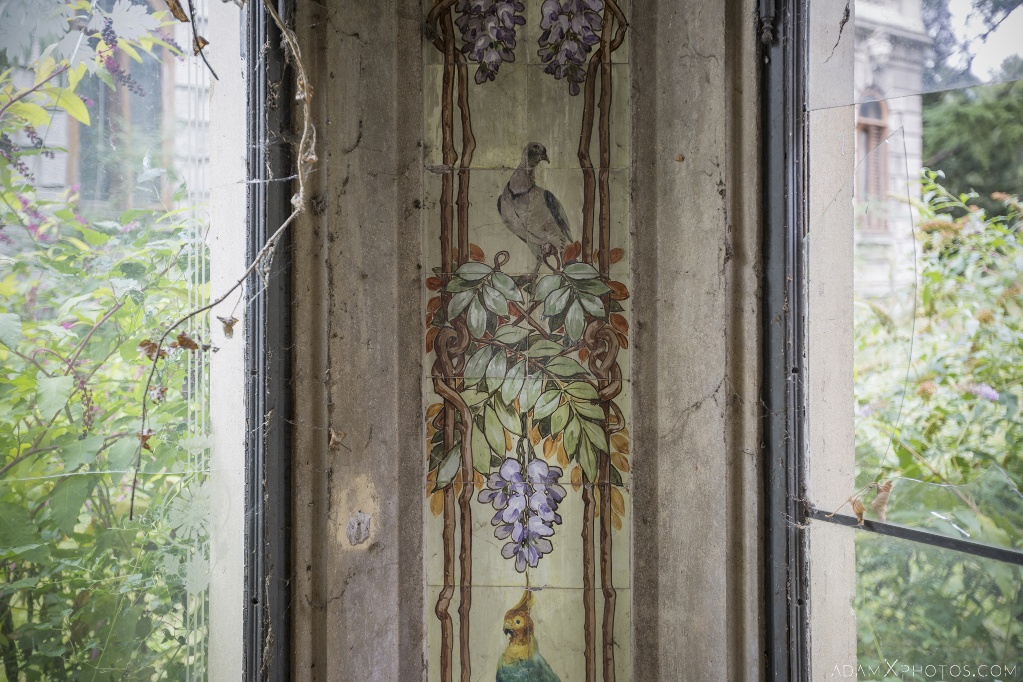 Tiles detail Greenhouse Orangery Garden summer House ornate windows rockery Villa Pesenti P Urbex Adam X Urban Exploration Italy Italia Access 2016 Abandoned decay lost forgotten derelict location creepy haunting eerie