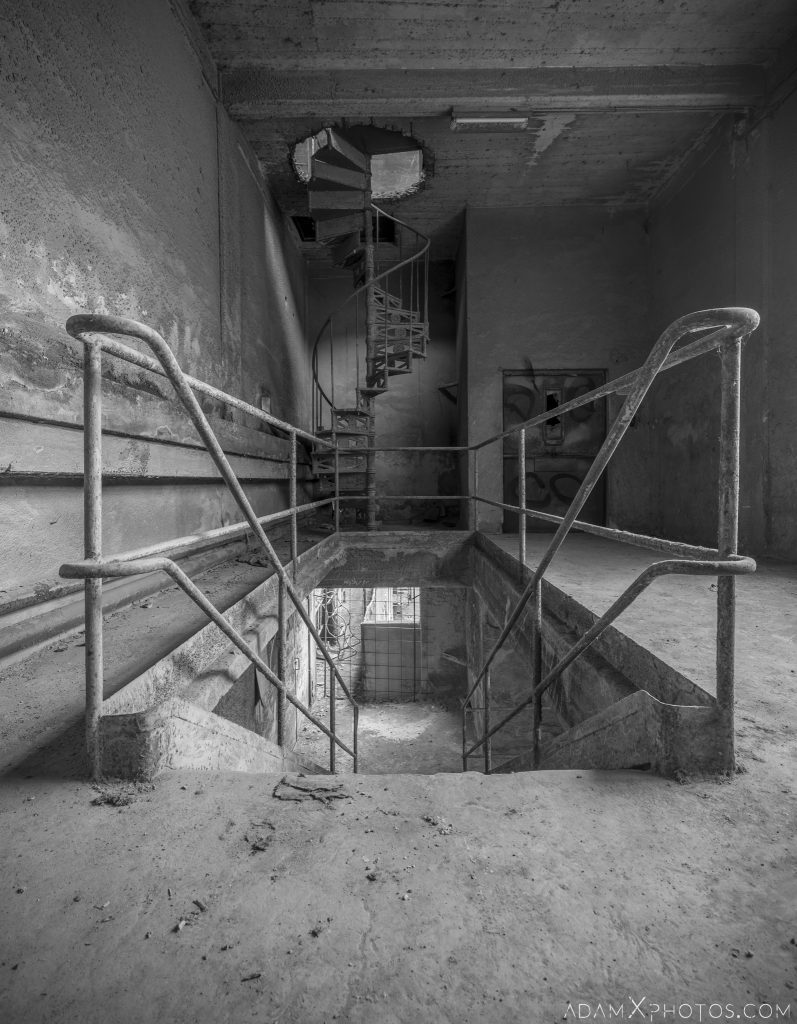 spiral stairs black and white Circle Industry Cement factory industrial industy Adam X Urban Exploration Italy Italia Access 2016 Abandoned decay lost forgotten derelict location creepy haunting eerie