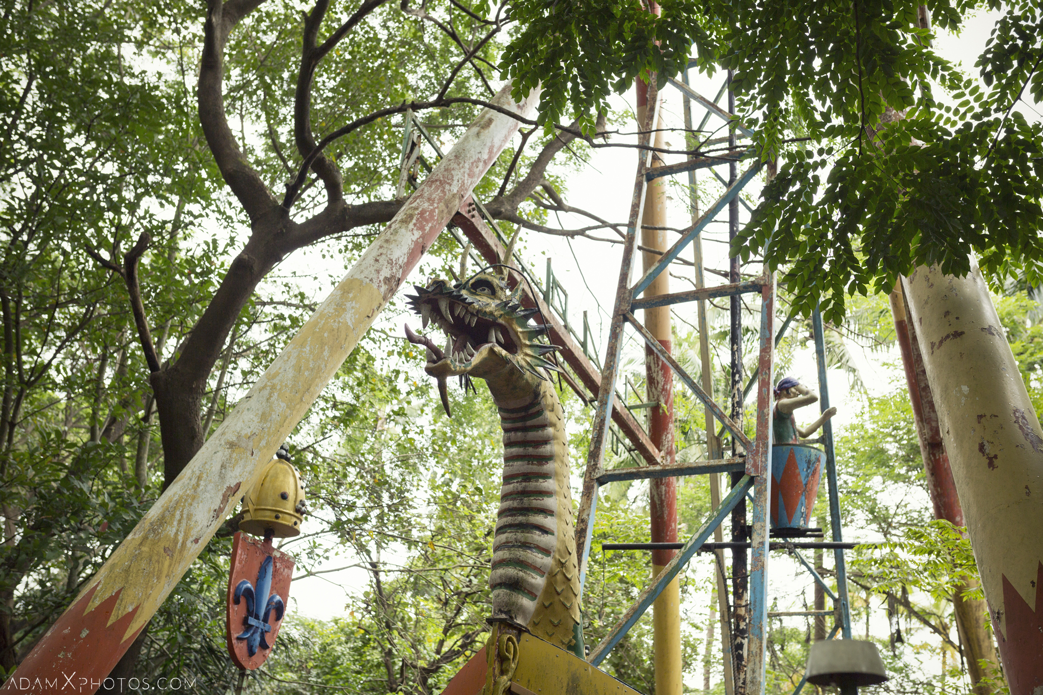 Dragon boat pirate swing ride Happy World Theme Park Amusement Park Fairground Myanmar Burma Yangon Rangoon Urbex Adam X Urban Exploration Access 2016 Abandoned decay lost forgotten derelict location creepy haunting eerie