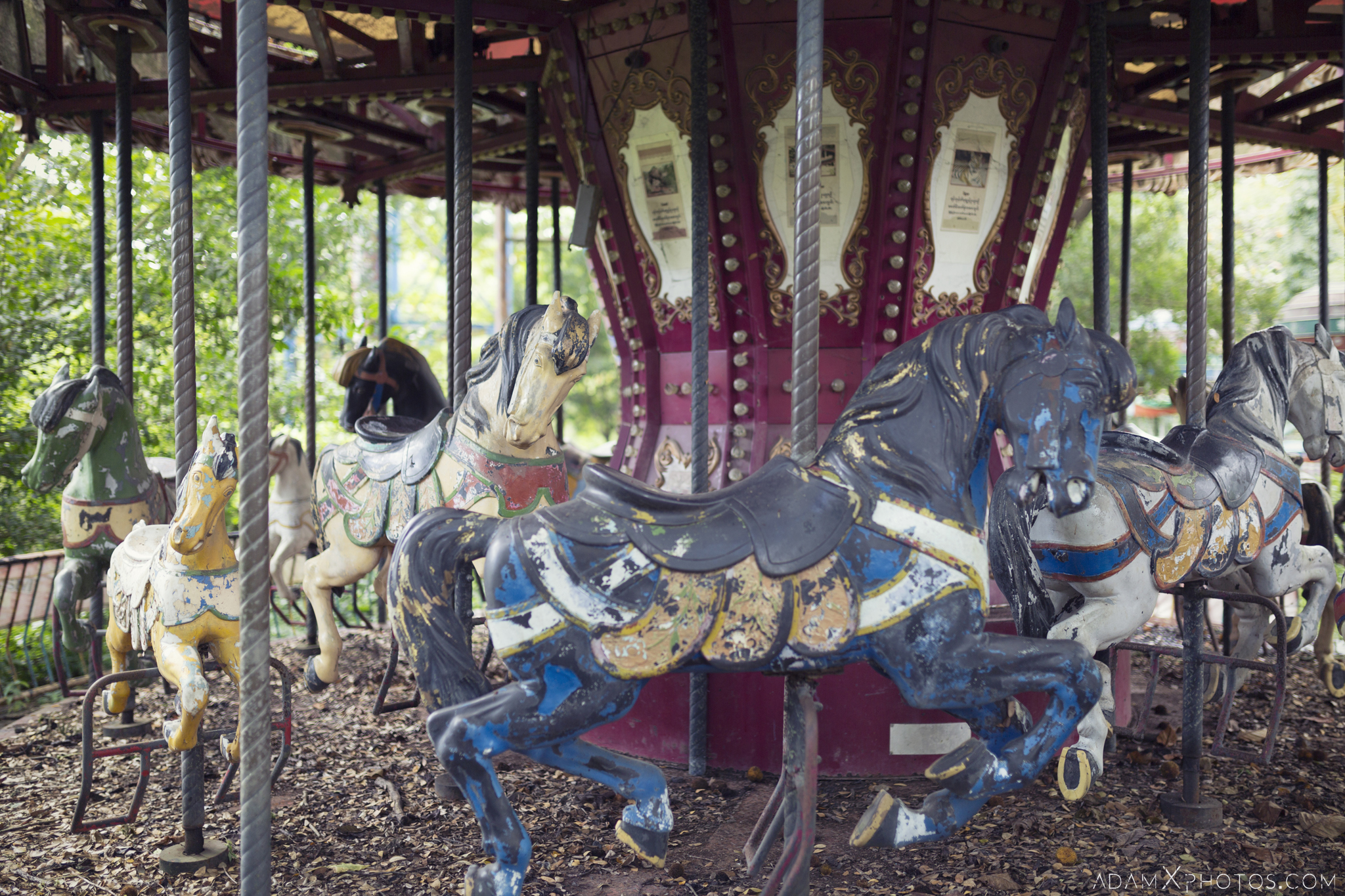 Horses carousel ride Happy World Theme Park Amusement Park Fairground Myanmar Burma Yangon Rangoon Urbex Adam X Urban Exploration Access 2016 Abandoned decay lost forgotten derelict location creepy haunting eerie