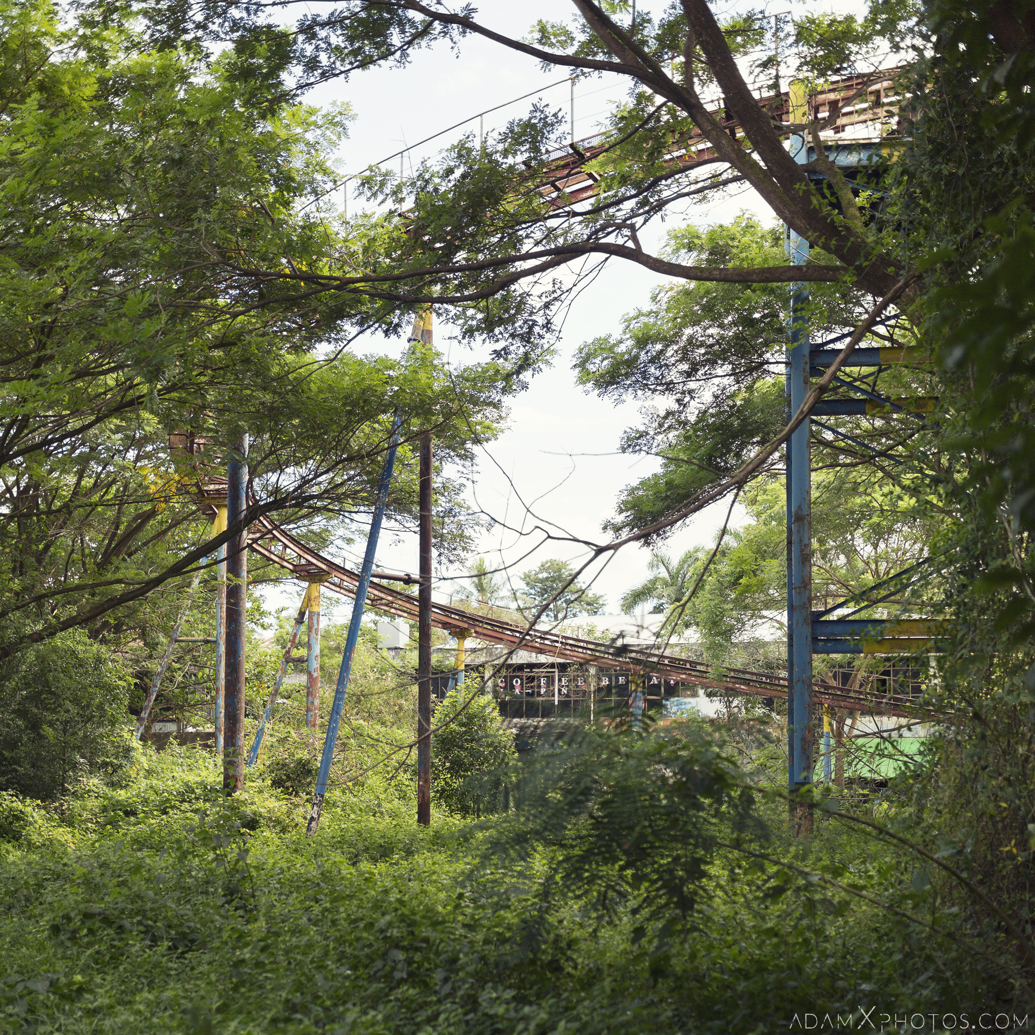 Jungle overgrown rollercoaster Happy World Theme Park Amusement Park Fairground Myanmar Burma Yangon Rangoon Urbex Adam X Urban Exploration Access 2016 Abandoned decay lost forgotten derelict location creepy haunting eerie