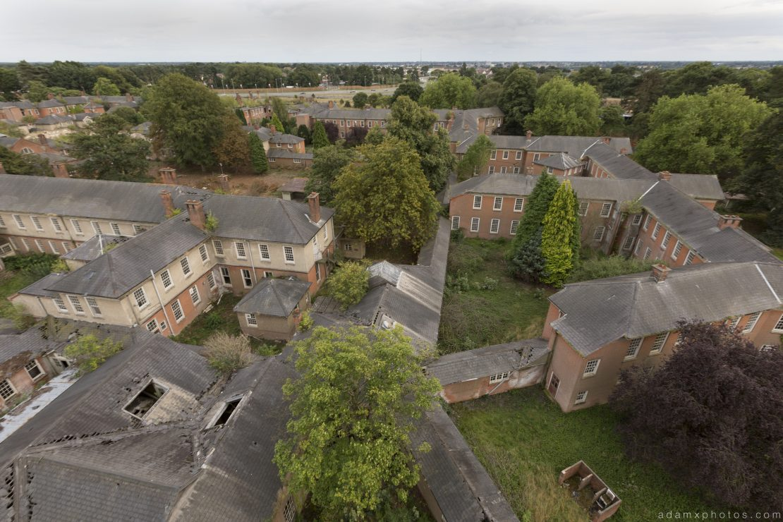 Wards and corridors view from the water tower high Severalls Mental Asylum Hospital Sevs Urbex Adam X Urban Exploration Access 2016 Abandoned decay lost forgotten derelict location creepy haunting eerie