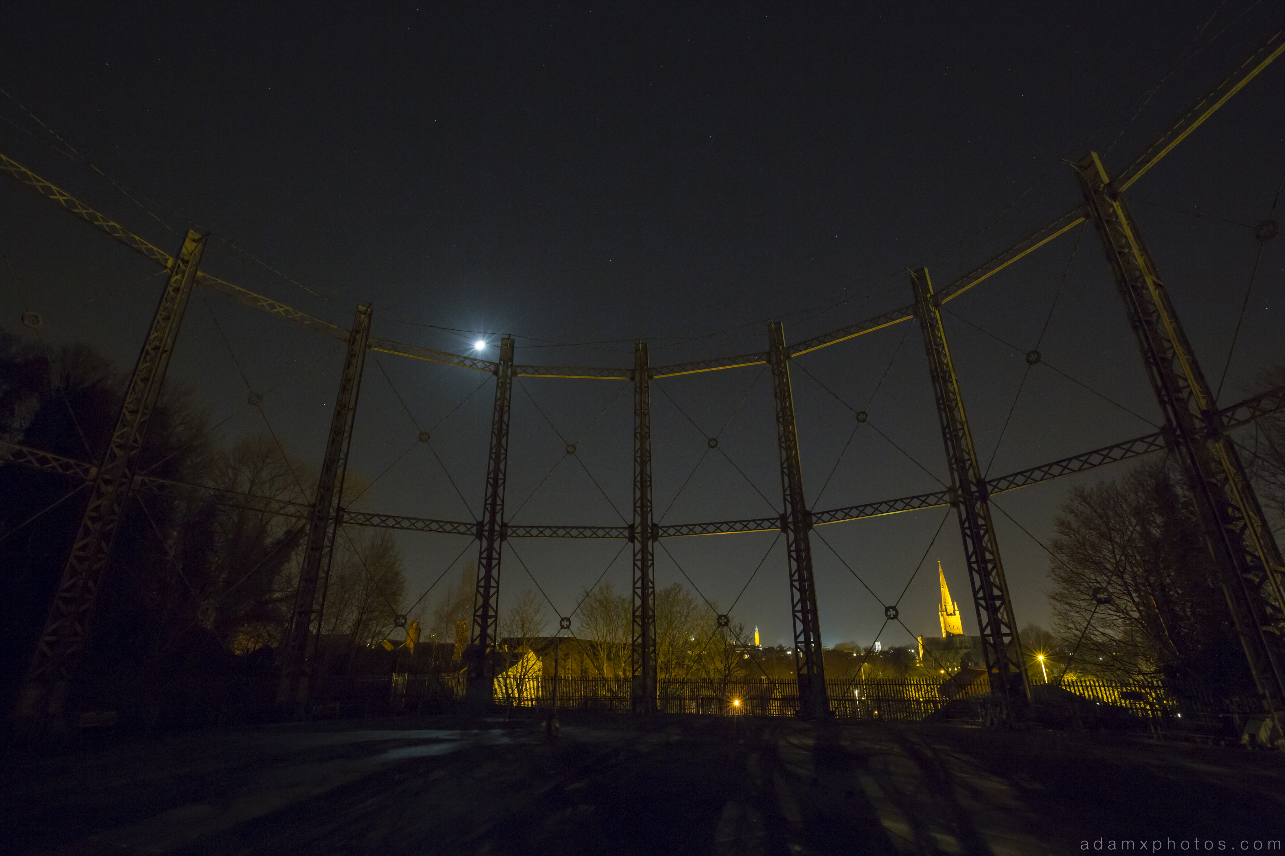 Norwich Gas Holder moonlight Night Nighttime Urbex Adam X Urban Exploration Access 2016 Abandoned decay lost forgotten derelict location creepy haunting eerie