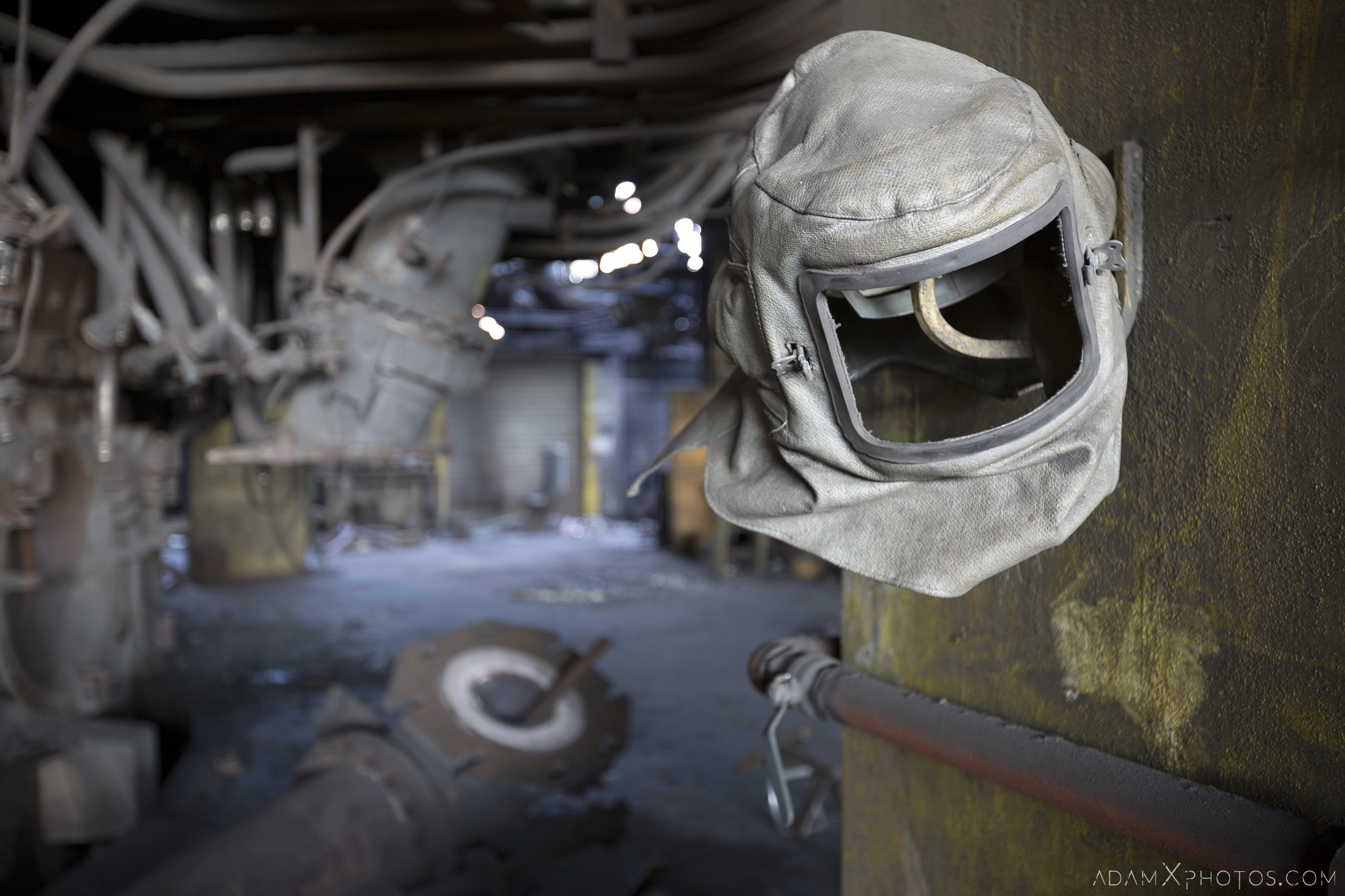 Welder's mask Haut Fourneau B HFB Blast Furnace Steelworks Adam X Urban Exploration Belgium Access 2017 Abandoned decay lost forgotten derelict location creepy haunting eerie