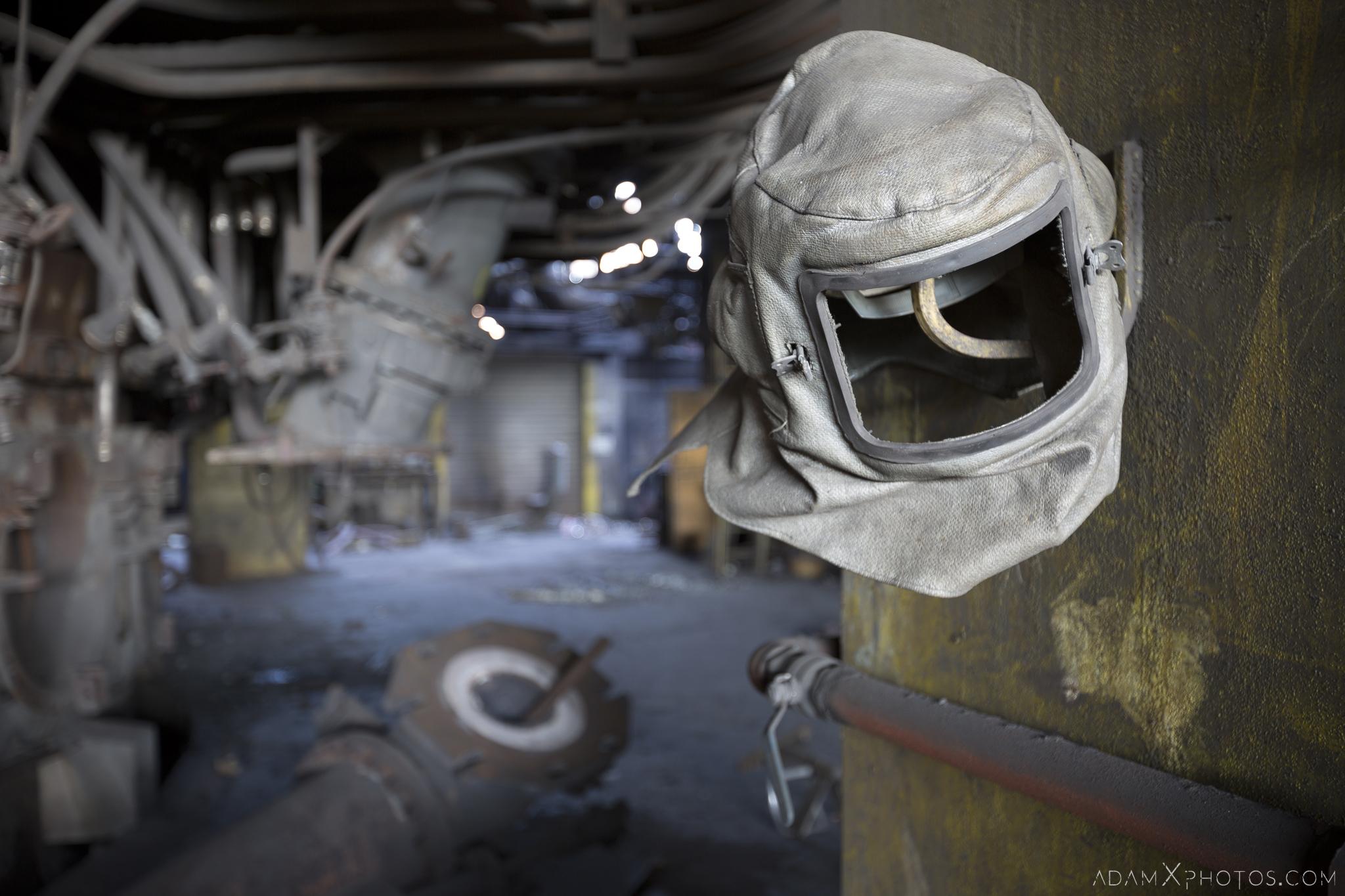 Welder's mask Haut Fourneau B HFB Blast Furnace Steelworks Adam X Urban Exploration Belgium Access 2017 Abandoned decay lost forgotten derelict location creepy haunting eerie