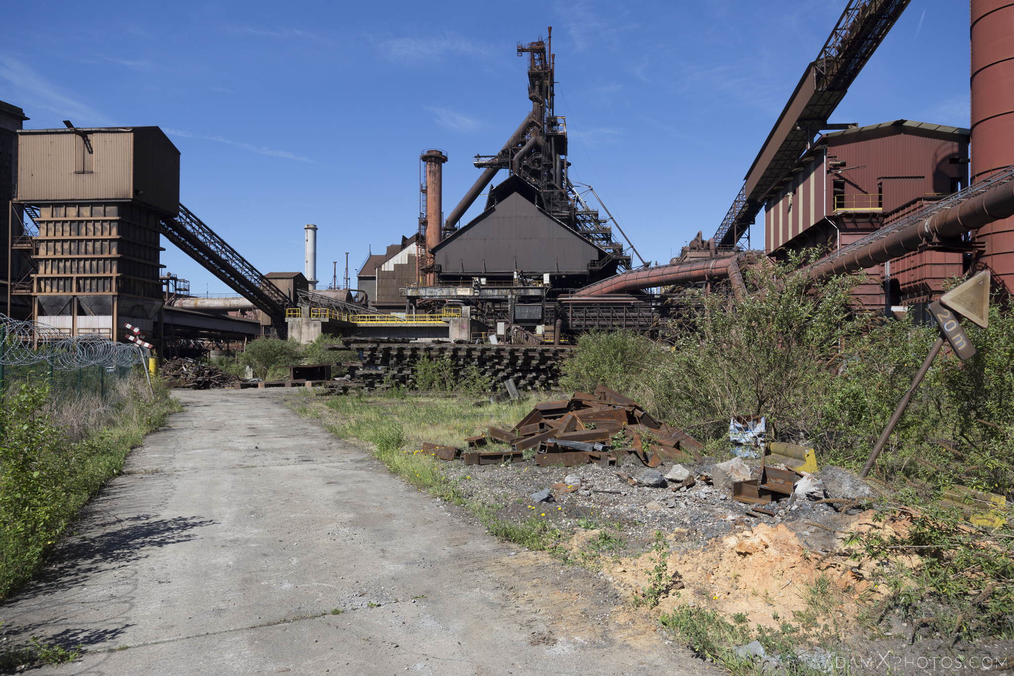 External outside view Haut Fourneau B HFB Blast Furnace Steelworks Adam X Urban Exploration Belgium Access 2017 Abandoned decay lost forgotten derelict location creepy haunting eerie
