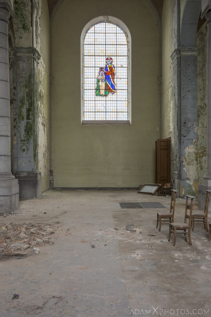 Stained Glass Window L'église Saint-Pierre Church of Decay Grâce-Hollogne Liege Adam X Urban Exploration Belgium Access 2017 Abandoned decay lost forgotten derelict location creepy haunting eerie
