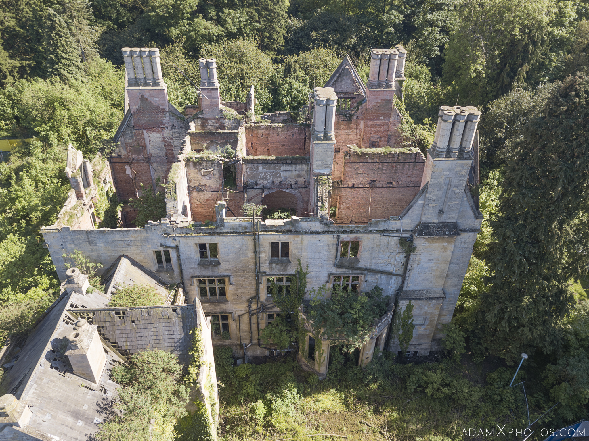 Drone From Above aerial Nocton Hall manor shell ruin DJI Mavic overgrown Lincolnshire Adam X Urbex Urban Exploration Access 2018 Abandoned decay lost forgotten derelict location creepy haunting eerie
