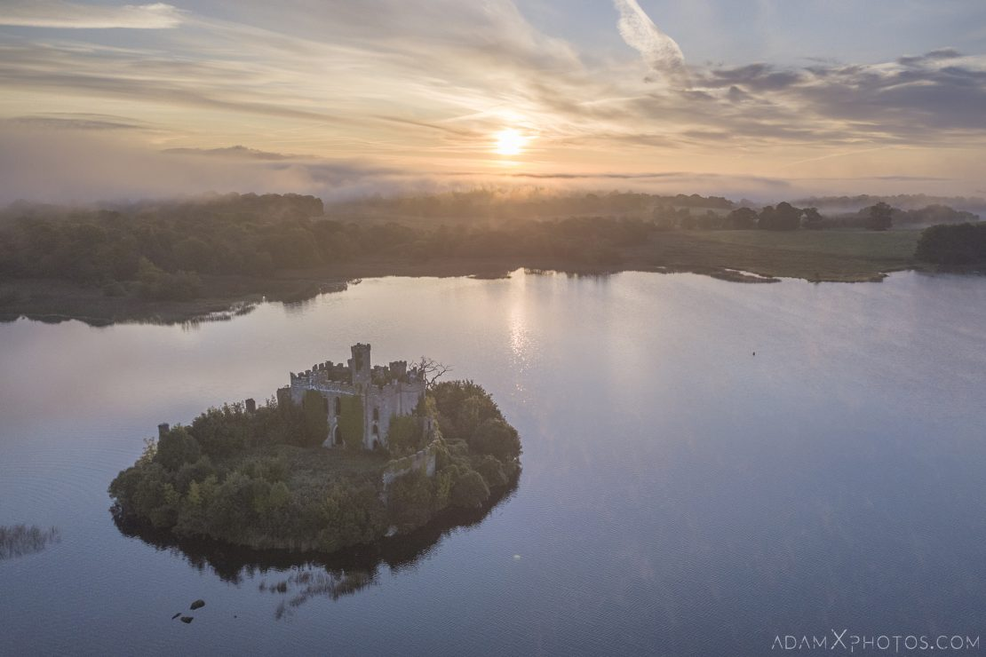 Sunset Aerial Drone from above McDermott's Castle Ruin Shell Lough Key Castle Island Overgrown when nature takes over County Roscommon Adam X Urbex Urban Exploration Ireland Access 2017 Abandoned decay lost forgotten derelict location creepy haunting eerie
