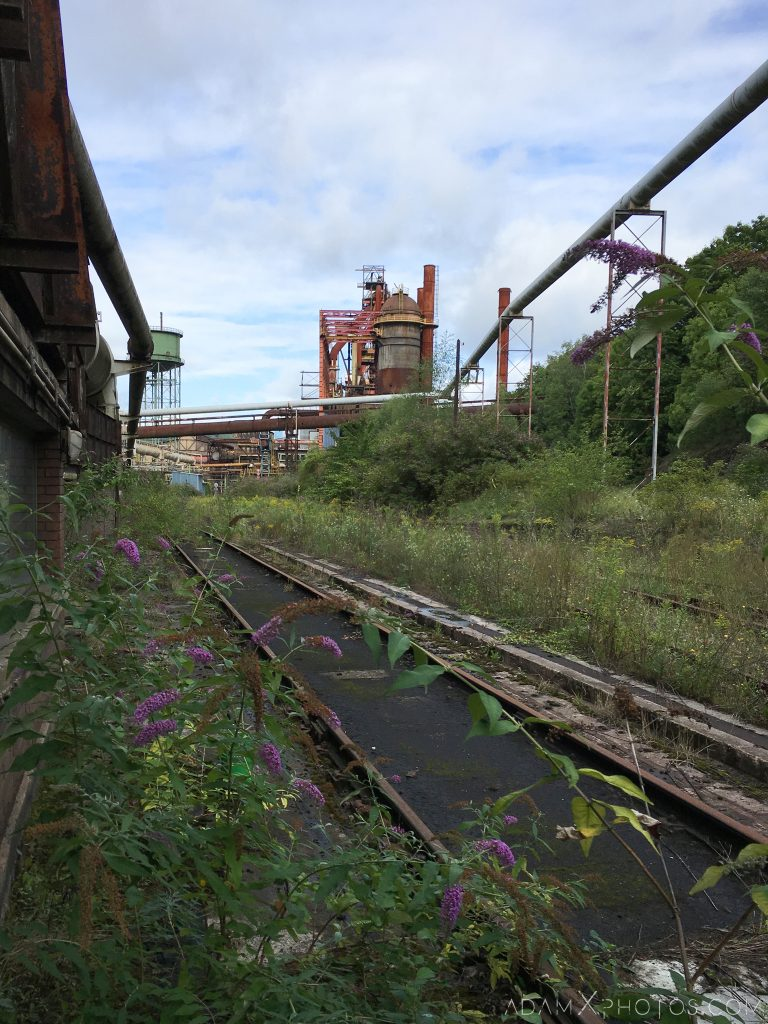 Overgrown rail track HFX Florange Hayange ArcelorMittal blast furnaces steel works plant Industrial Industry Adam X Urbex Urban Exploration France Access 2017 Abandoned decay lost forgotten derelict location creepy haunting eerie