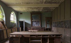 Old classroom blackboard desks De Salle College School Colaiste Iosagain Ballyvourney County Cork Adam X Urbex Urban Exploration Ireland Access 2017 Abandoned decay lost forgotten derelict location creepy haunting eerie