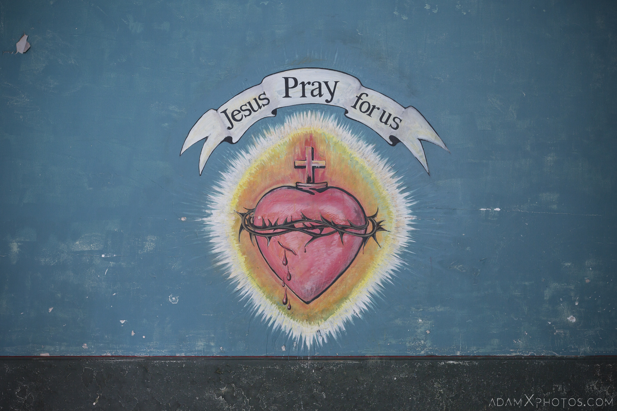 Jesus pray for us mural wall painting De Salle College School Colaiste Iosagain Ballyvourney County Cork Adam X Urbex Urban Exploration Ireland Access 2017 Abandoned decay lost forgotten derelict location creepy haunting eerie