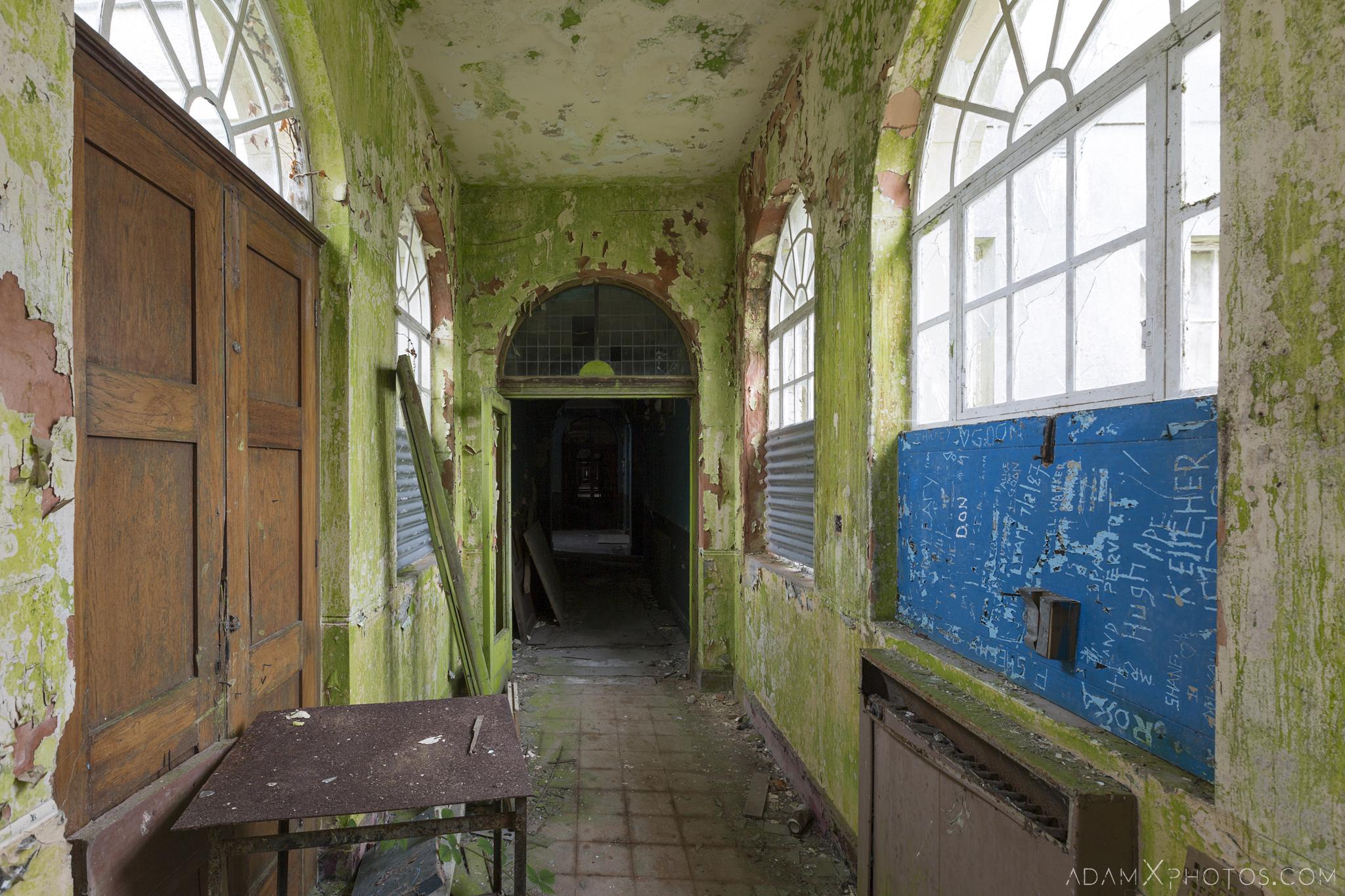green corridor trashed De Salle College School Colaiste Iosagain Ballyvourney County Cork Adam X Urbex Urban Exploration Ireland Access 2017 Abandoned decay lost forgotten derelict location creepy haunting eerie