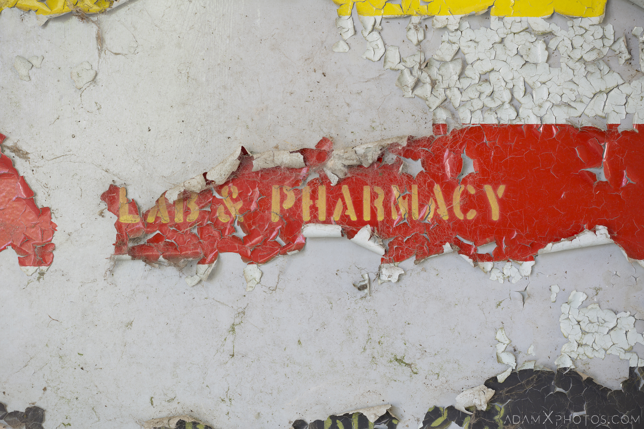 Lab & Pharmacy peeling paint sign Nocton Hall RAF Hospital Lincolnshire Adam X Urbex Urban Exploration Access 2018 Abandoned decay lost forgotten derelict location creepy haunting eerie