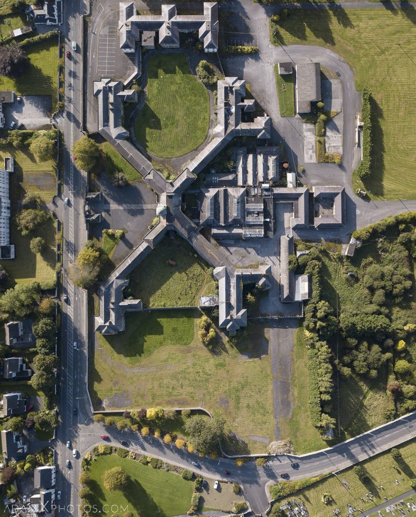 drone DJI Mavic Pro from above panorama Connacht District Lunatic Asylum St Brigid's Hospital Adam X Urbex Urban Exploration Ireland Ballinasloe Access 2017 Abandoned decay lost forgotten derelict location creepy haunting eerie