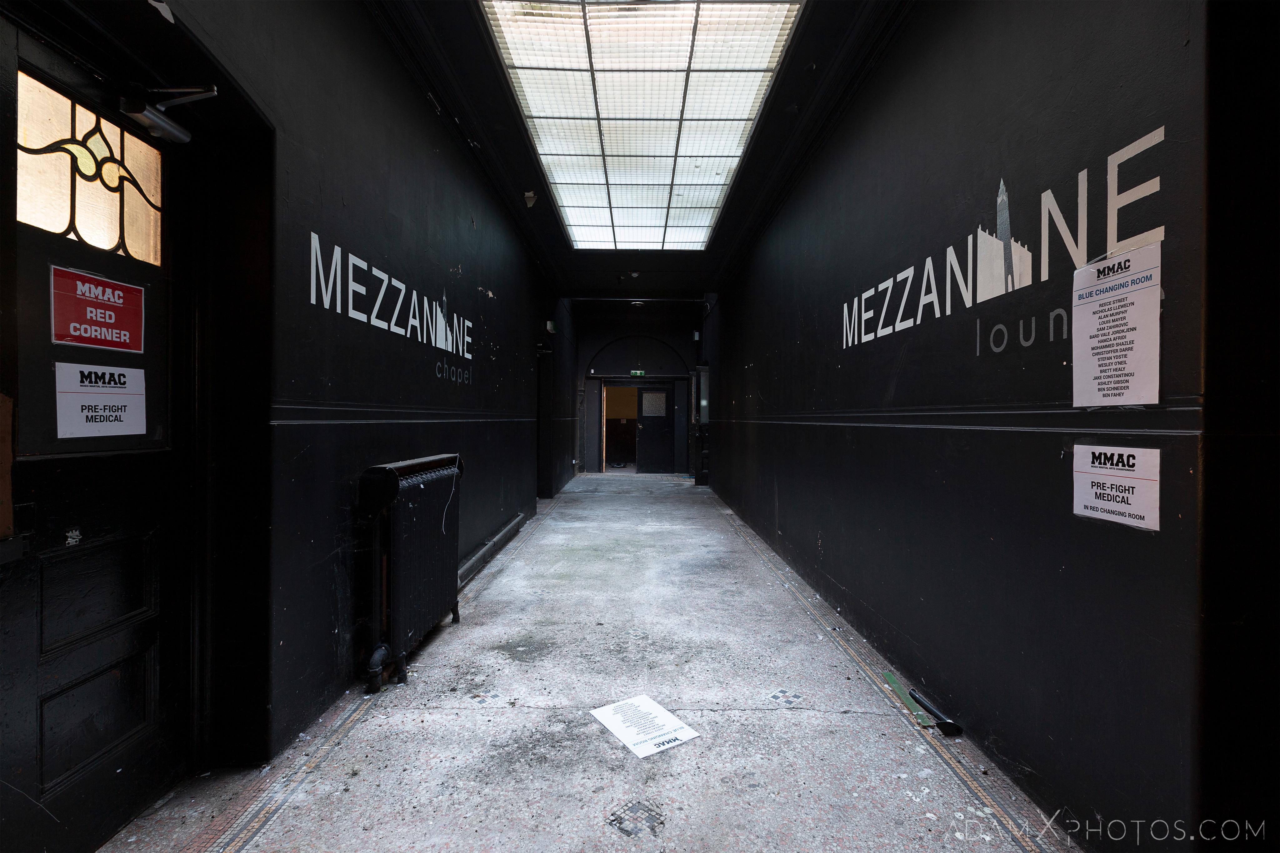 mezzainine corridor skylight MMAC Birmingham Methodist Central Hall Q Club Adam X Urbex Urban Exploration Access 2018 Abandoned decay lost forgotten derelict location creepy haunting eerie