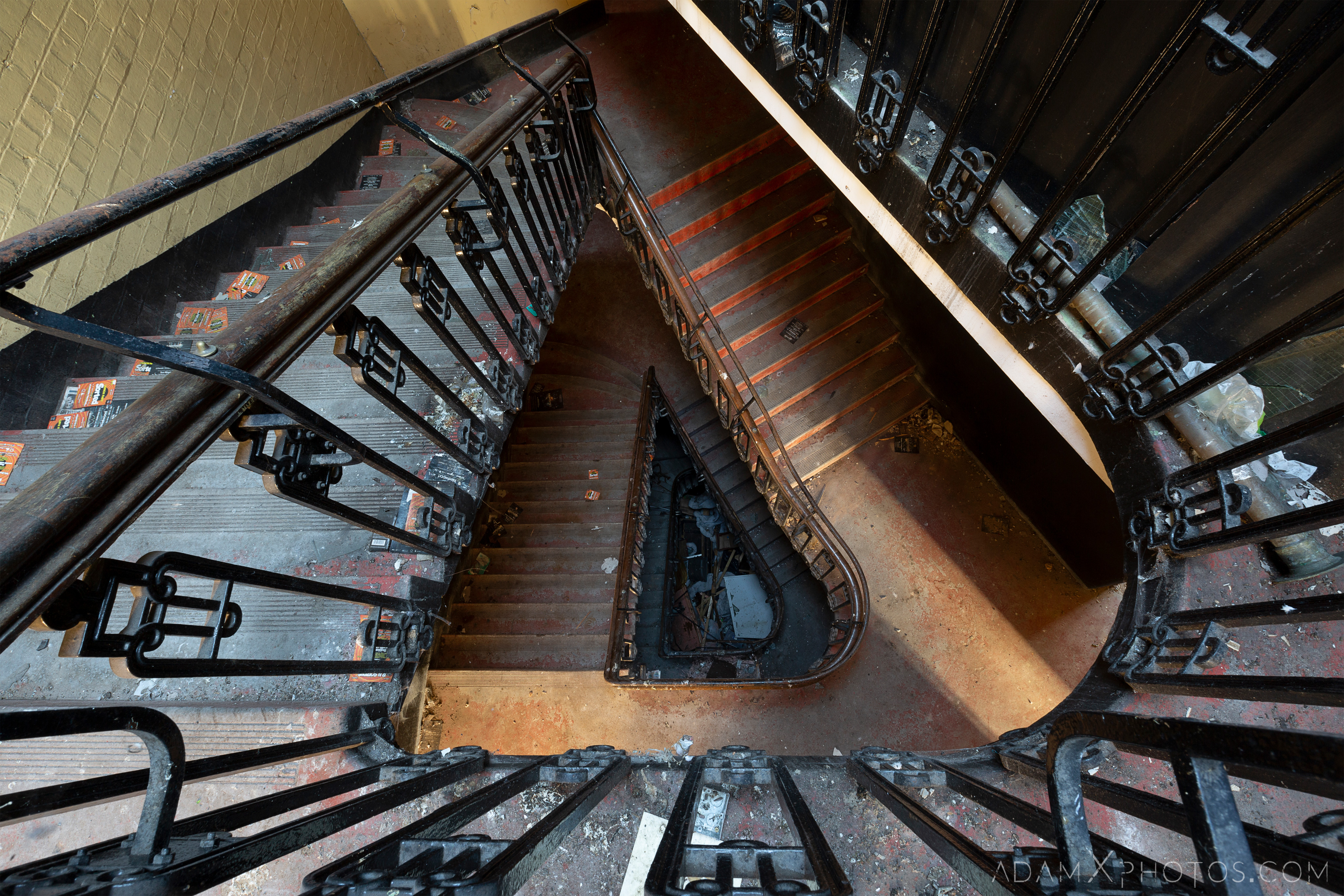 Looking down staircase triangular ornate Birmingham Methodist Central Hall Q Club Adam X Urbex Urban Exploration Access 2018 Abandoned decay lost forgotten derelict location creepy haunting eerie